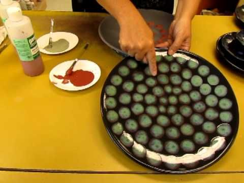 Glaze Globbing. Lots of videos here: http://vidgrids.com/pottery-glazes#