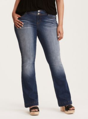 Mid-Rise Bootcut Flared Jeans in Medium Wash , Extra