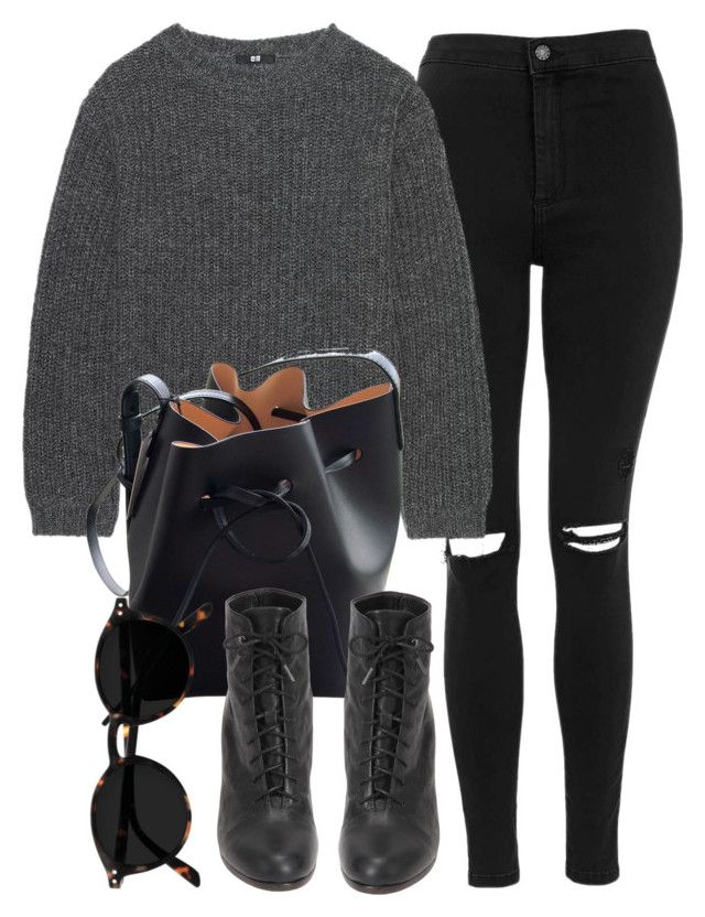 """""""Untitled #6876"""" by laurenmboot ❤ liked on Polyvore featuring Topshop, Uniqlo, Mansur Gavriel and rag & bone"""