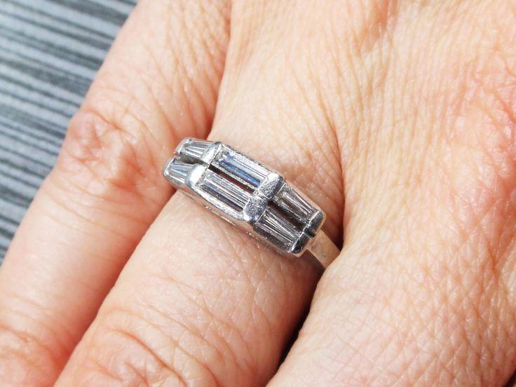 Platinum Diamond Baguette Wedding Band Platinum Wedding Band Vintage Diamond Ring Double Row Diamond Wedding Band 1960's Wedding Ring by BelmarJewelers on Etsy