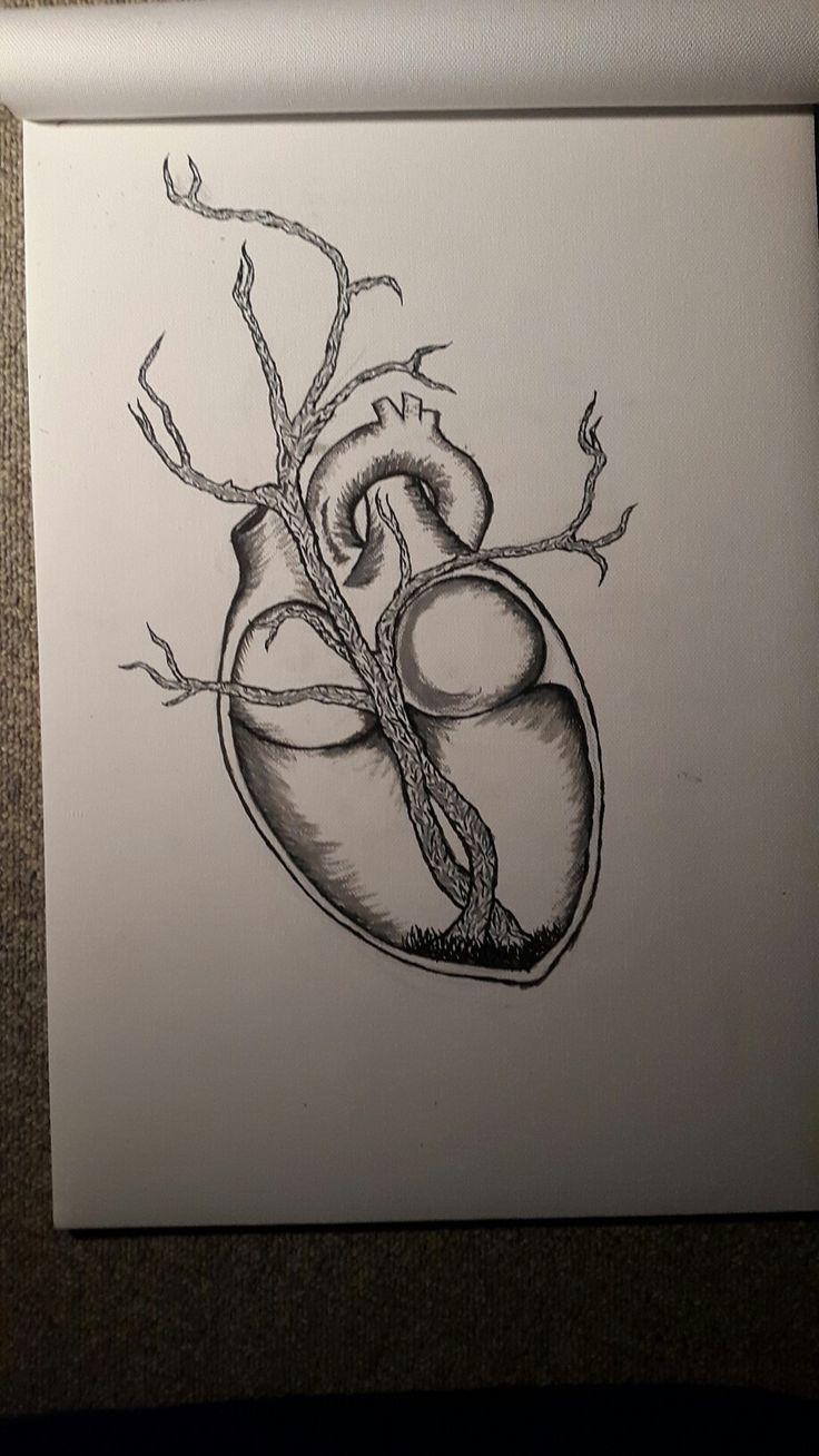 Acrylic painting, heart