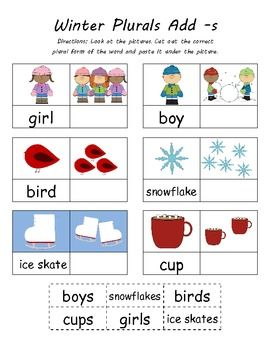 $ Kindergarten Common Core Christmas & Winter Cut N Paste Plurals (Add -s) 4 Sheets Total