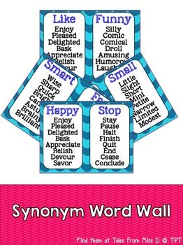 Help students develop their vocabulary by displaying this word wall in your classroom. Instead of using basic words, students can integrate these synonyms into their writing.  Words chosen are ones used frequently by students. These include:  Big, Small, Smart, Fast, Happy, Stop, Like, Funny, Take, Think, True, Strange, Use, Have, Calm, Tasty, Amazing, Pretty, Interesting and Look.