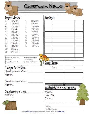 97 Best Daycare Images On Pinterest | Daycare Forms, Daycare Ideas