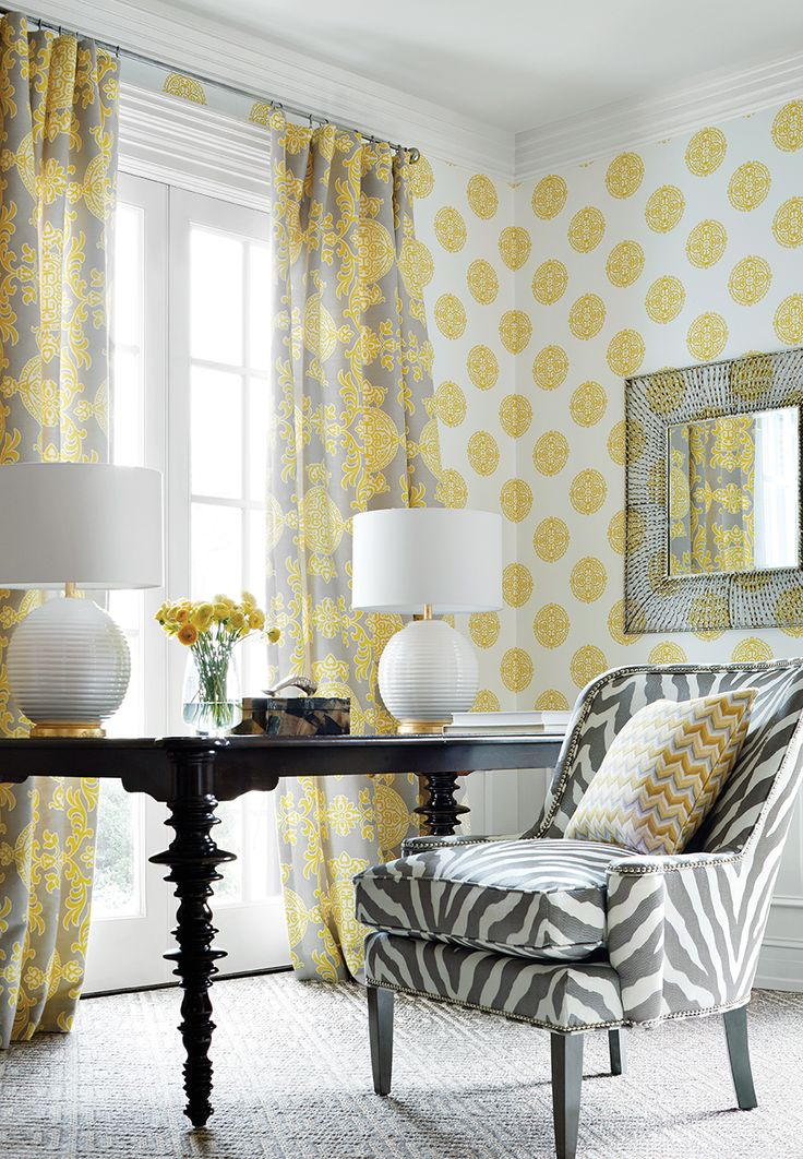 Halie Circle Wallpaper In Yellow Halie Fabric Draperies In Grey And Lemon  Etosha Embroidery Chair In Grey