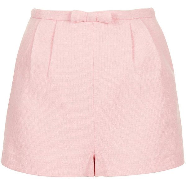 TOPSHOP Pink Bow Front Shorts ($64) ❤ liked on Polyvore featuring shorts, bottoms, short, topshop, pink, cotton shorts, short shorts, pink high waisted shorts and high-waisted shorts