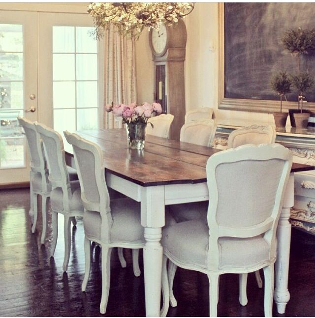 Dining room. Dark wood top with white legs