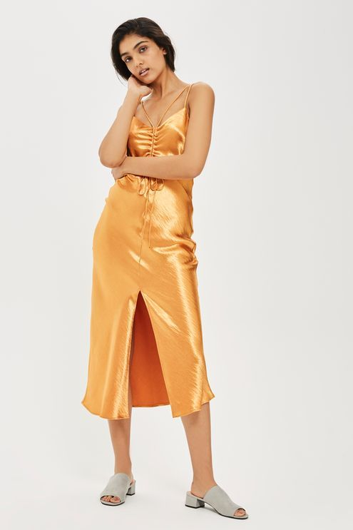 Ruched Midi Slip Dress - Topshop