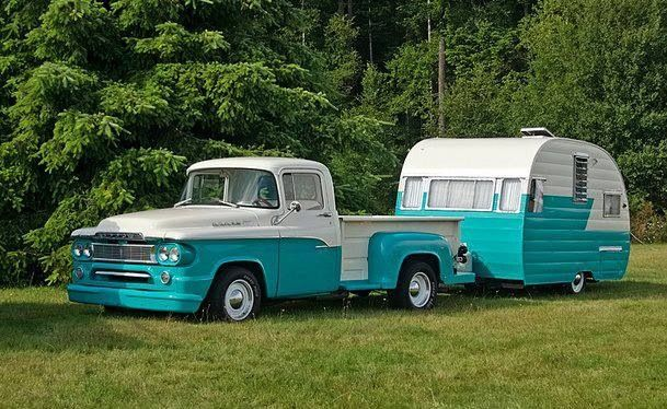 Dodge C series and matching vintage canned ham trailer....