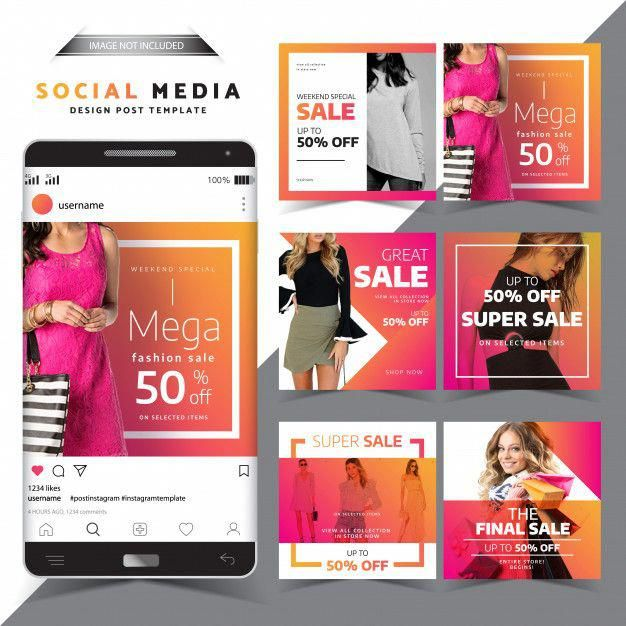 Social Media Post Design Template Moda Venda Design Premium Vector Social Media Design Inspiration Social Media Design Graphics Fashion Sale Design