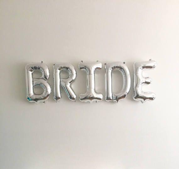 Bridal Shower Balloons Metallic Silver Giant BRIDE Balloons 40 Inch Silver Mylar Balloons in Letters B-R-I-D-E Wedding Decorations