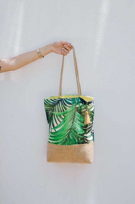 Jute zak strand / palm tree print / tropische door LaPasoBien