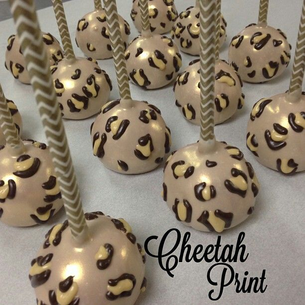 Cheetah print cake pop