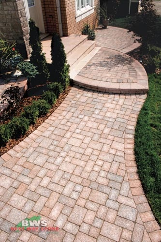 #outdoor #entrance: Best Way Stone > Paver: Adora Antico (Rustic Salmon Mix) / Border:  Pathway Antico (Rustic Salmon Mix) available at our store at 3500 Mavis Rd, Mississauga, ON L5C 1T8