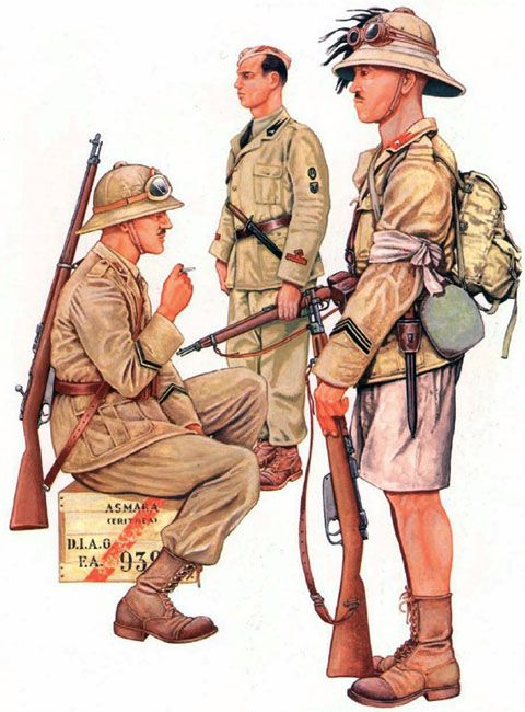 The Italian invasion of Abyssinia, 1935-36: • Infantry Corporal, 60th Calabria Regiment, Sila Division  • Vice Capo Squadra Ardito, MVSN  • Corporal Major, 3rd Bersaglieri Regiment, Colonna Celere