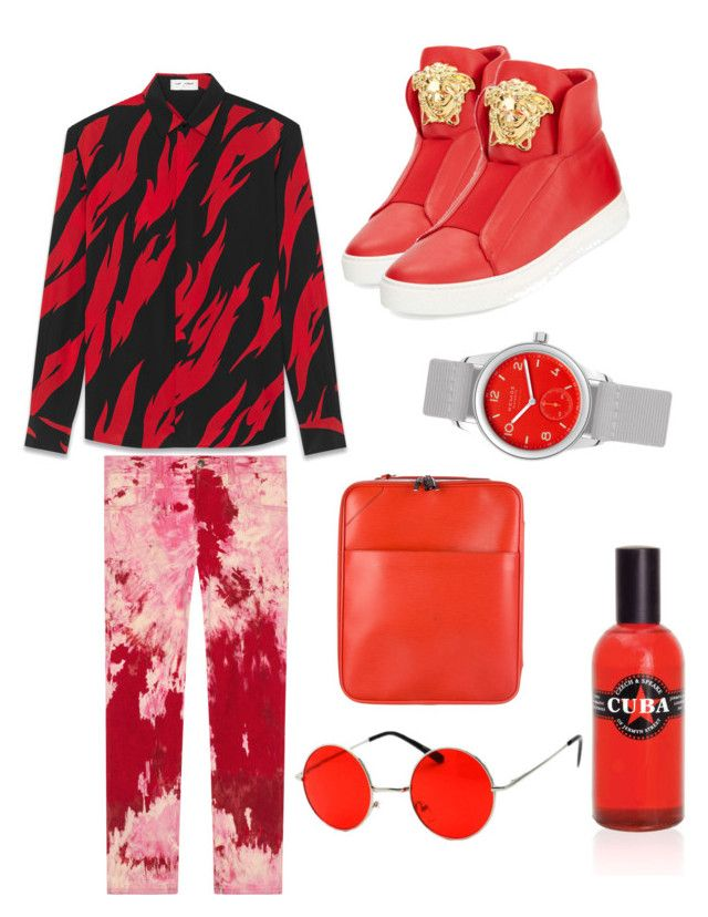 """Red gang"" by onesclanivis on Polyvore featuring Yves Saint Laurent, Gucci, Versace, Nomos, Louis Vuitton, SWG, Czech & Speake, men's fashion and menswear"