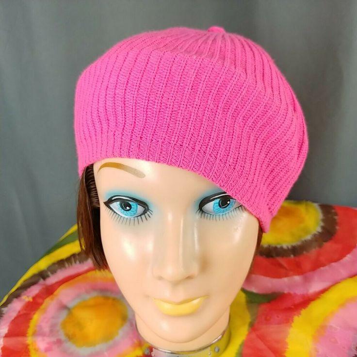 Pink Knit Beret Beanie Vintage Hat Acrylic Stretch Mod -4316