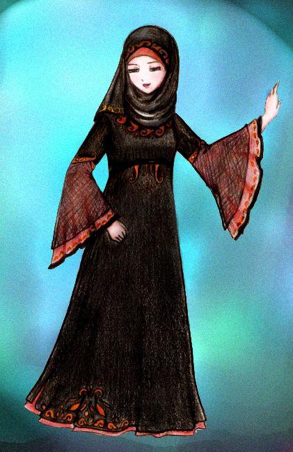 Muslimah in Elegant Abaya