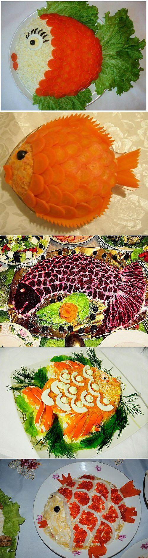 Mooie New Year's tafel: salades, vis / eenvoudige recepten
