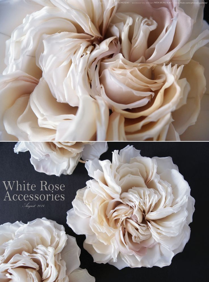 https://flic.kr/p/ozmdnQ | 白色玫瑰花頭飾 | 材質/日本內裡布、日本西裝裡布、真絲棉(以上皆須上漿處理)、台緞 工具/八分圓球鏝、1.2吋圓球鏝、中瓣鏝、鎳子、燙墊、燙枕 染料/日本粉末染料 尺寸/直徑約16~17CM間  這組作品嚴格說起來不算是新作,依照客戶的訂製需求為去年的作品,把紙型稍作修改、增加中心花瓣片數和2/3以上花瓣,由原本鎳子外翻捲度改用手指細細捲起,來增加整體的量感和空間感。