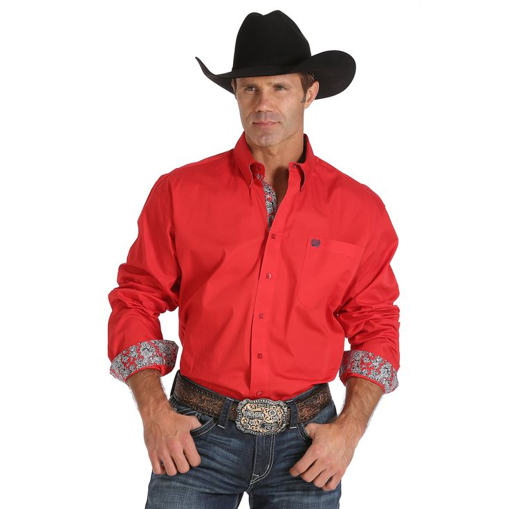 Cinch Solid Red Long Sleeve Shirt