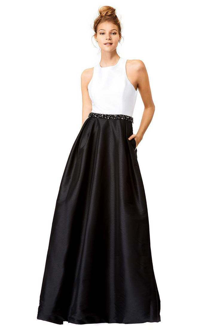 from rent the runway black and white gown with open back and beaded belt jadore contrast gown by