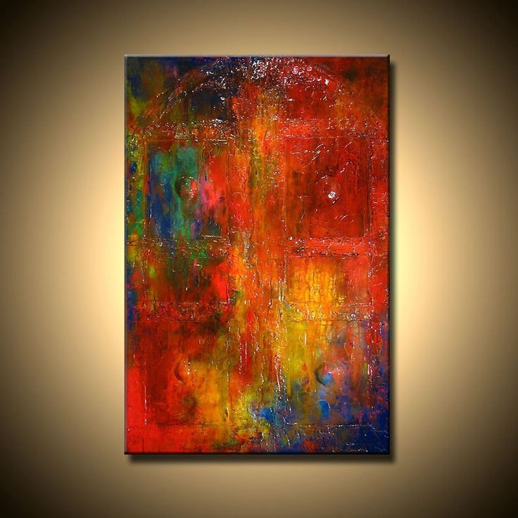 Original Textured Modern Abstract, impressionist Vintage Door oil Painting, Gallery Art by Henry Parsinia large 36x24