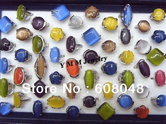 Мода Cat Eye каменные кольца очаровательные кольца мода ювелирных изделий 50 шт./лот оптовая продажа