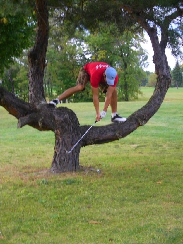 Making that hard decision to play it as it lies. | 23 Problems Every Golfer Will Understand