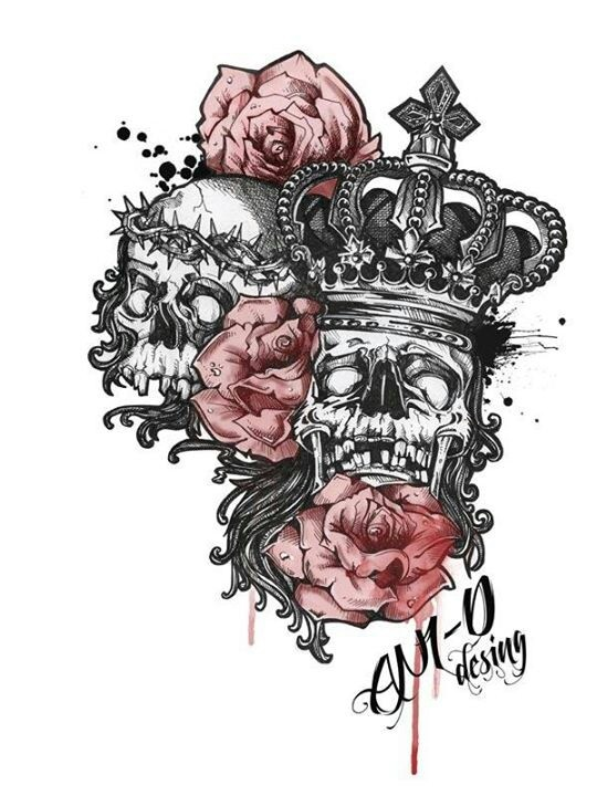 King and queen of death masks tattoo pinterest queen for King and queen skull tattoos