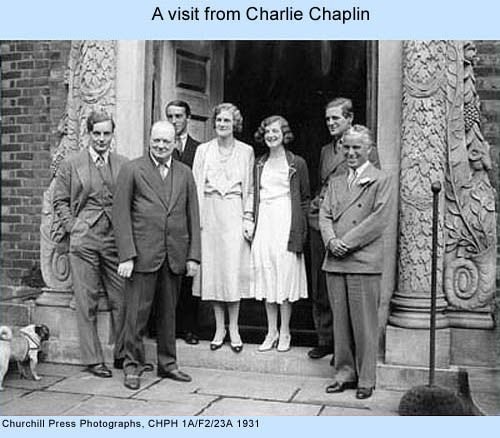 Sole Mitford brother Tom, with the Churchill family (they were cousins through Churchill's wife Clementine) and Charlie Chaplin. Tom was killed during WWII.