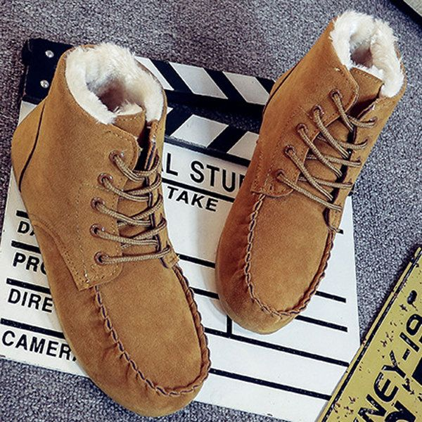 Designer Suede Ankle Pure Color Fur Lining Lace Up Flat Boots For Women - NewChic