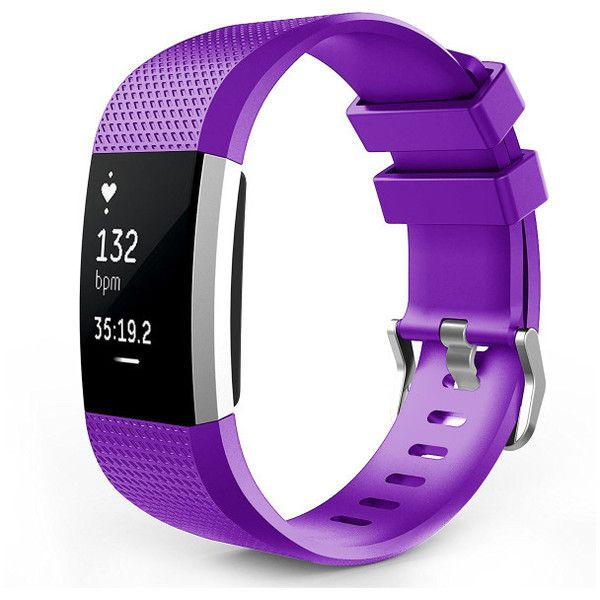 Mignova Large Silicone Replacement Watch Band Strap for Fitbit Charge... ($6.99) ❤ liked on Polyvore featuring jewelry, watches, jewelry & watches, purple, leather-strap watches, silicone wrist watch, fitbit jewelry, purple watches and fitbit watches