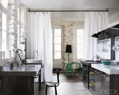 Curtain as room divider: Kitchens Remodel, Spaces, Ideas, Houses, Curtains Dividers, Curtains Rooms Dividers, Elle Decor, Curtains Rods, Interiors