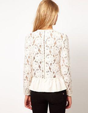 lace back long-sleeve peplum top