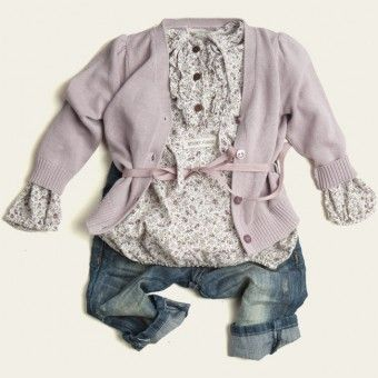 Dusty Pink Alice Cardi, Arial Blouse in Chalk + Denim Pinocchio Jeans | Sticky Fudge
