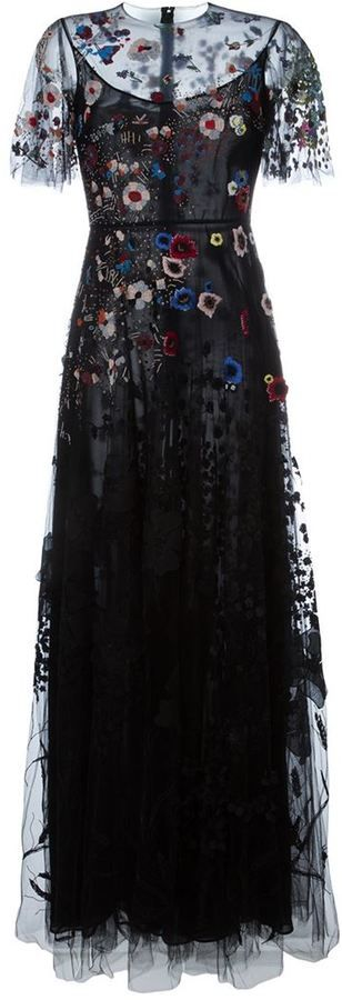 Valentino floral embroidered evening dress