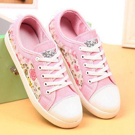 Encontrar Más Moda Mujer Sneakers Información acerca de Nueva moda mujer  zapatillas de deporte zapatos de lona para mujeres dulce encaje Floral bajo  Top de ...