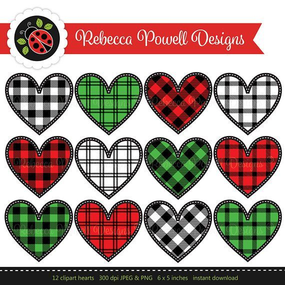 Set of 12 red, green, black & white plaid stitched clipart hearts, JPEG & PNG files. Great for crafts, scrapbooking & digital use. Available from Etsy & Teachers Pay Teachers #buffaloplaid #lumberjack #logcabin #crafts #scrapbooking #etsy #plaid #digitalclipart #digitaldownload #clipart #hearts #lovehearts #tartanchecks #flannelchecks #wedding #valentines #stitchedhearts #gingham #teacherspayteachers #resources #gingham #holidayplaid #christmas #red #green #white #black #JPEG #PNG