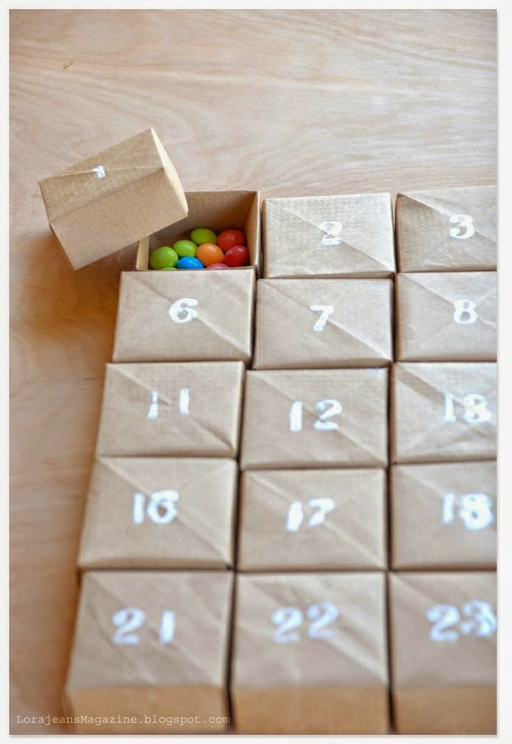 count down calendars for kids. Fill with candy, stones, cat toys, little happy-you note, and other odd items, also great to fill with one of those combo b-day gift bag collections of whistles, erasers, and do-dads. :)