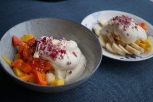 Sukkerfri råcreme - frugtsalat