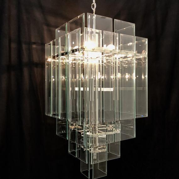 Oversized Modern Glass Chandelier By Forecast Modern Glass Chandeliers Glass Chandelier Chandelier
