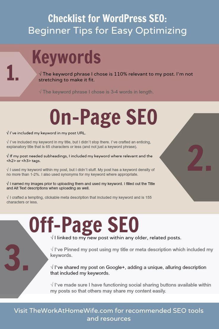 Esta interesante Infografía muestra los puntos principales que hay que tener en cuenta para el SEO en un website Wordpress, muy útil para aquellos que inician http://www.toplistsnow.com/content/checklist-seo-para-principiantes-en-wordpress