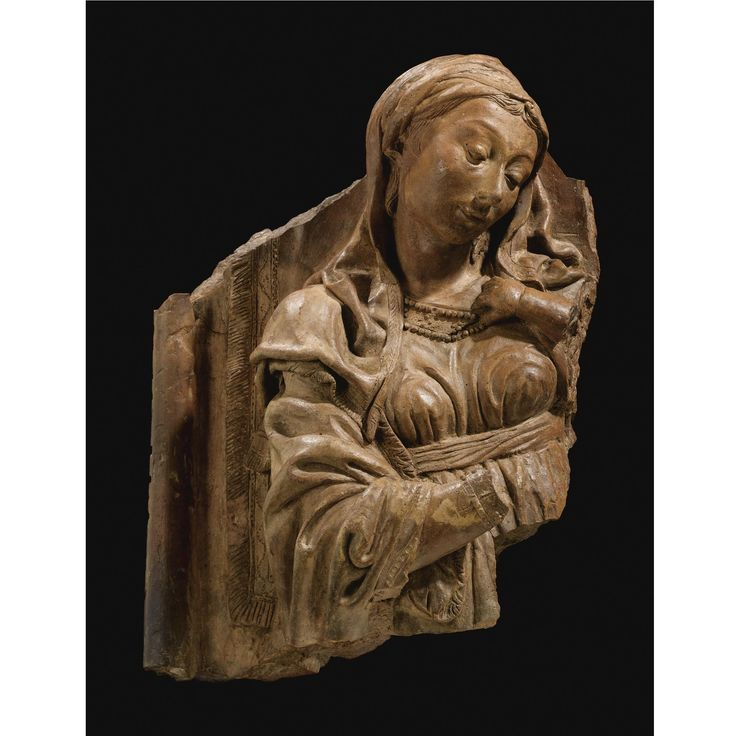 http://www.sothebys.com/en/auctions/ecatalogue/lot.58.html/2008/european-sculpture-and-works-of-art-l08231 Niccolò dell'Arca (c. 1435/1440 – 1494). Italian, mid 15th century. A FRAGMENTARY TERRACOTTA RELIEF OF THE MADONNA.