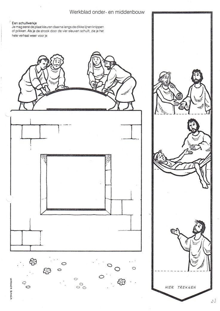 De lamme man door het dak, knutselen verwerking bij de Bijbel, kleuteridee.nl,  kindergarten Bible craft,  free printable