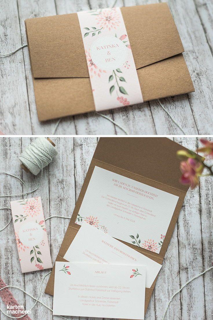Wunderschöne hochzeitseinladung im pocketfold format die falttasche ist aus kraftpapier eure gäste öffnen
