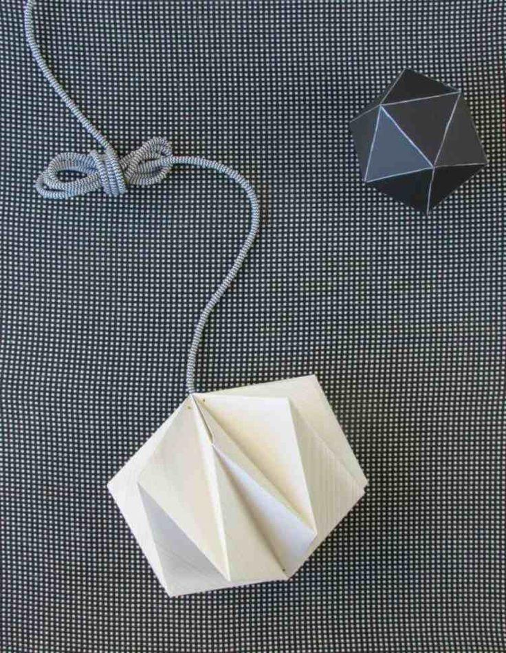 lampe origami à faire soi-même en paier plié en 3D