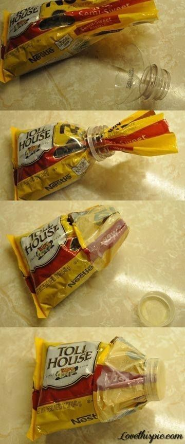 cut off top of soda bottle, slip an open bag through it, and close tight with the cap