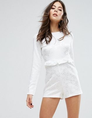 PrettyLittleThing Floral Ruffle Playsuit