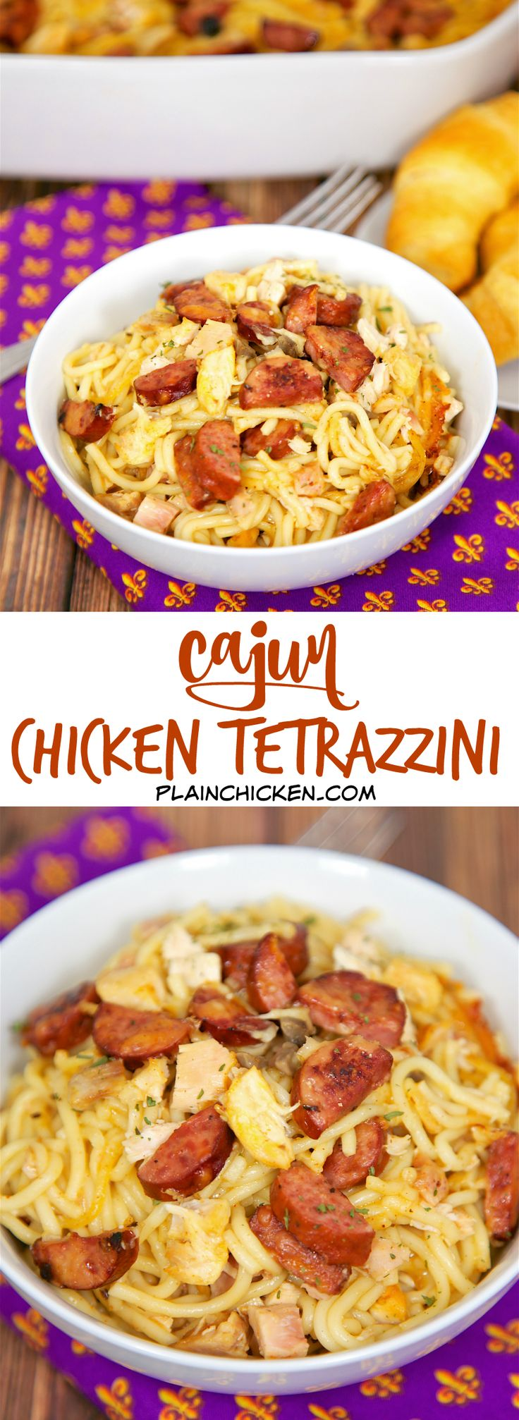 Cajun Chicken Tetrazzini - andouille or smoked sausage, chicken, pasta, cajun seasoning, cream of chicken, cream of mushroom, chicken broth and parmesan cheese. SO good! We ate this 2 days in a row. Can make ahead and refrigerate or freeze for later. We could not get enough of this casserole!